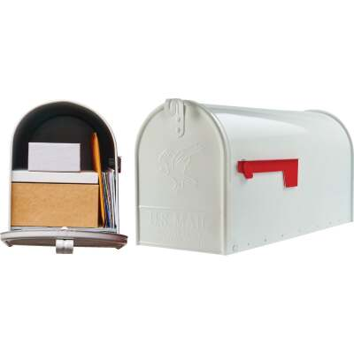 Gibraltar Elite T2 Large White Steel Rural Post Mount Mailbox