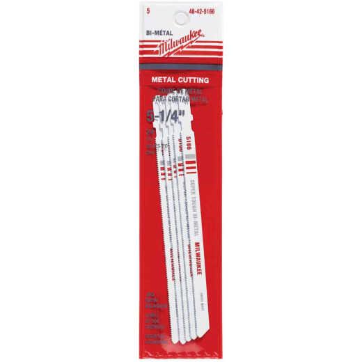 Milwaukee T-Shank 5-1/4 In. x 24 TPI Bi-Metal Jig Saw Blade, Metal Cutting (5-Pack)