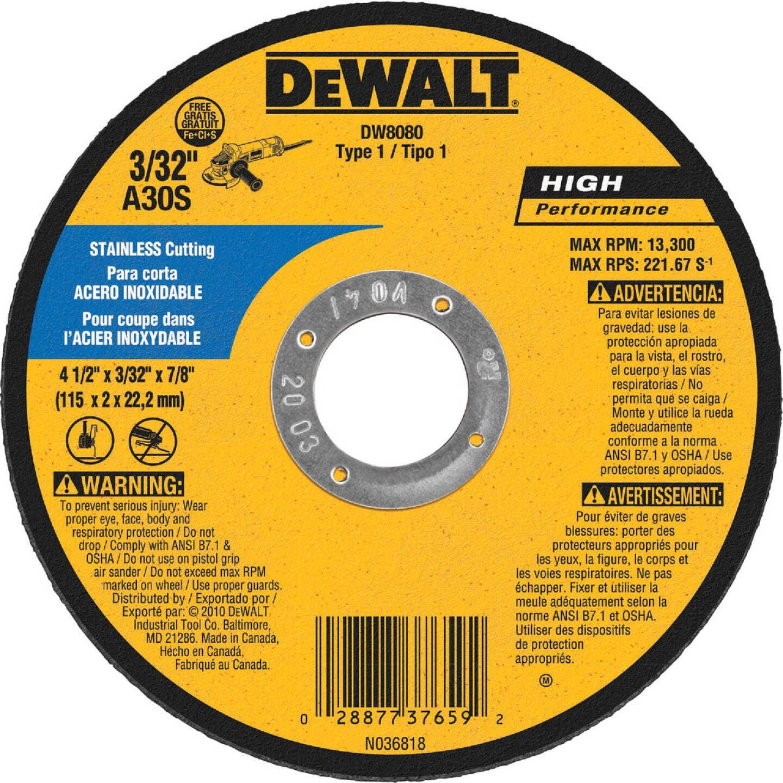 DeWalt HP Type 1 4-1/2 In. x 1/8 In. x 7/8 In. Stainless Cut-Off Wheel Image 1
