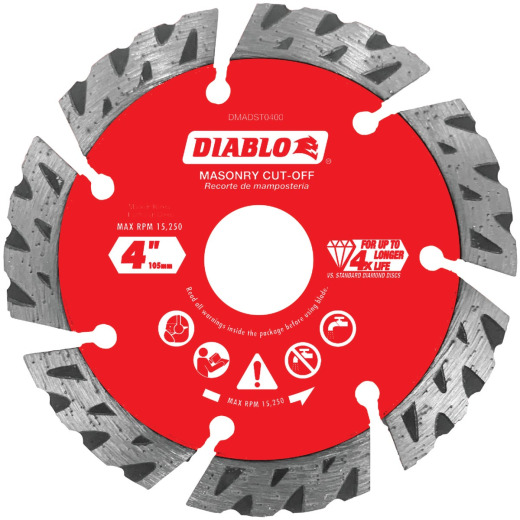 Diablo 4 In. Segmented Turbo Rim Dry/Wet Diamond Blade